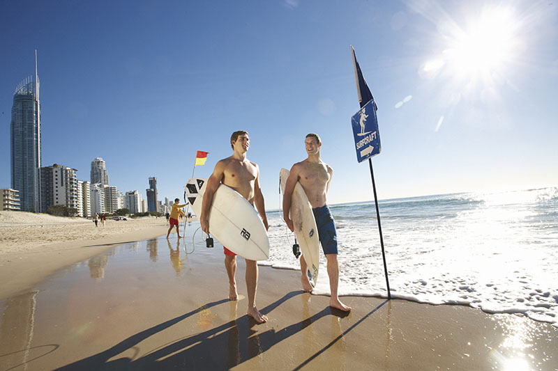 Surfers at Surfers Paradise, Gold Coast, QLD