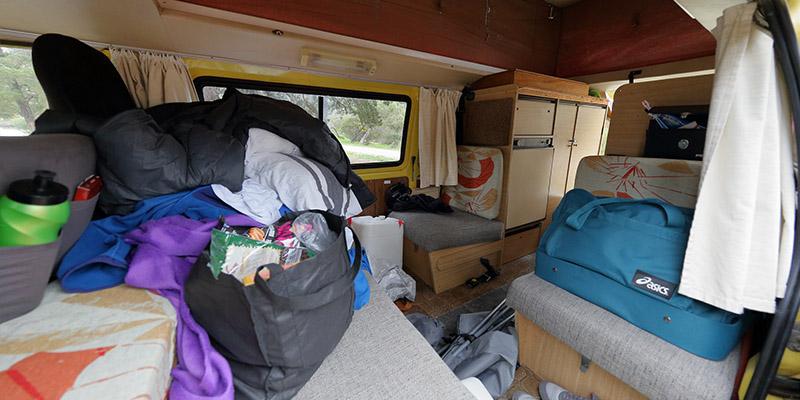 luggage inside the campervan